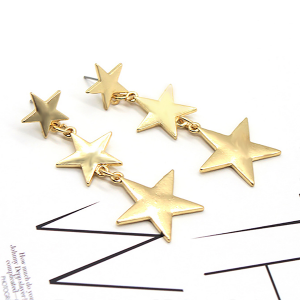 Trio Star Hanging Party Earrings Pair - Golden