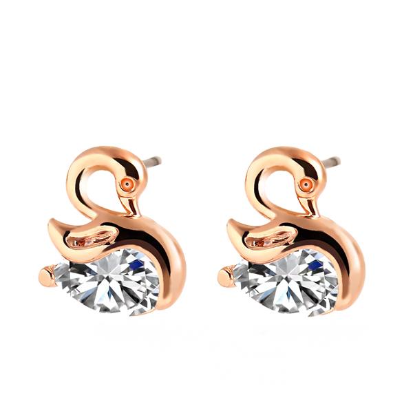 Crystal Zircon Swan Earring Intimate Jewelry Golden