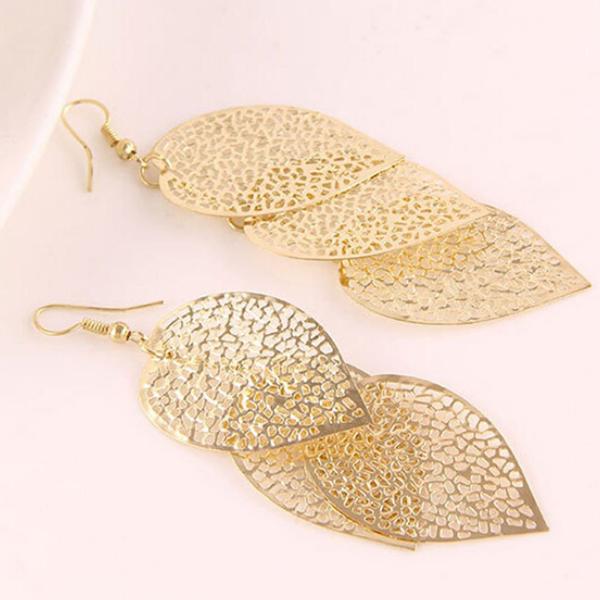 Gold Plated Triple Leaf Dangling Earrings For Women