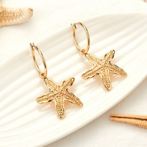 Star Fish Gold Plated Shaped Ear Tops - Golden