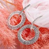 Crystal Party Special Round Hollow Earrings - Silver