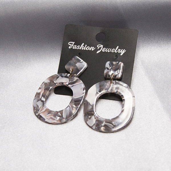 Marble Textured Acrylic Spiral Earrings Pair - Grey