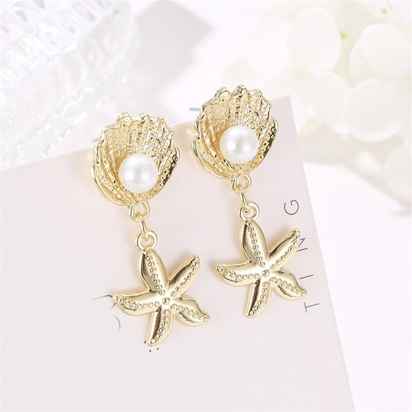 Gold Plated Pearl Star Fish Ear Tops