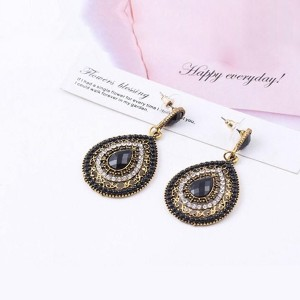 Water Drop Crystal Decorated Earrings For Women Black