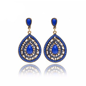 Water Drop Crystal Decorated Earrings For Women Blue