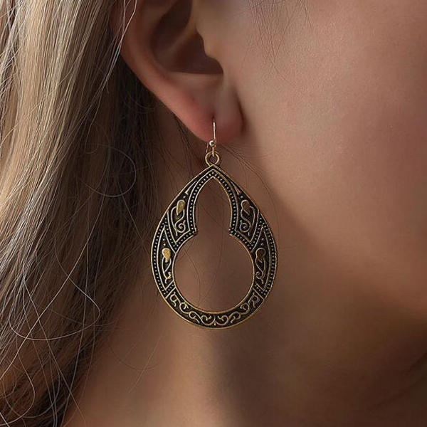 Boho Carved Stylish Party Wear Earrings