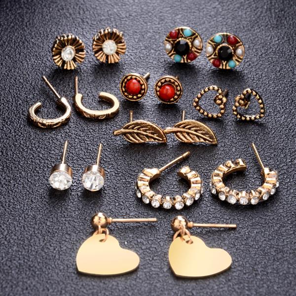 Nine Pairs Crystal Bohemian Ear Tops - Golden