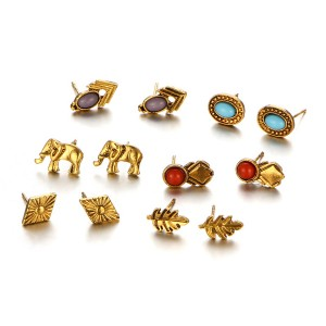 Bohemian Six Pairs Golden Ear Tops Set