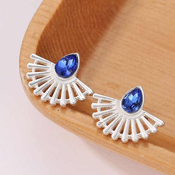 Blue Crystal Silver Plated Geometric Ear Tops