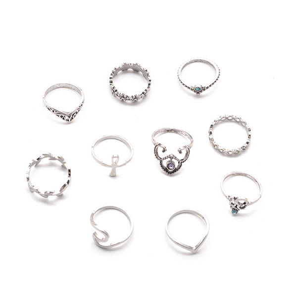 Party Jewelry 10 Pieces Set Midi Rings For Women
