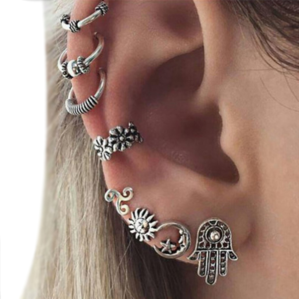 Silver Planet Textured Ear Tops For Women