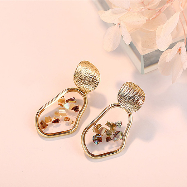 Mesh Textured Gold Plated Irregular Shaped Ear Tops