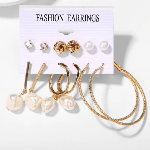 Spherical Pearl Decorative Six Pairs Ear Jewellery Set