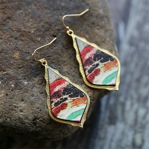 Rhinestone Patched Gold Plated Ear Tops Pair - Multi color