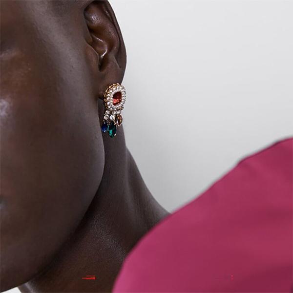 Fancy Crystal Fine Carved Ear Tops - Golden