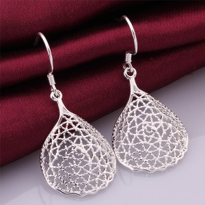 Silver Beauty Crystal Shaped Earrings Elegant And Charming