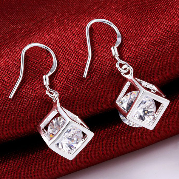Most Stylish Silver Plated Square Crystal Jewelry Earrings