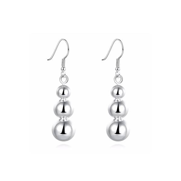 Latest Fashion Elegant Female Silver Plated Ball Earrings