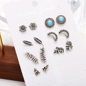 Seven Pairs Floral Leaf Bohemian Engraved Ear Tops Set