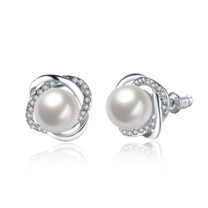 Flower Buds Earrings White Gold With Pearl New Women Fashion