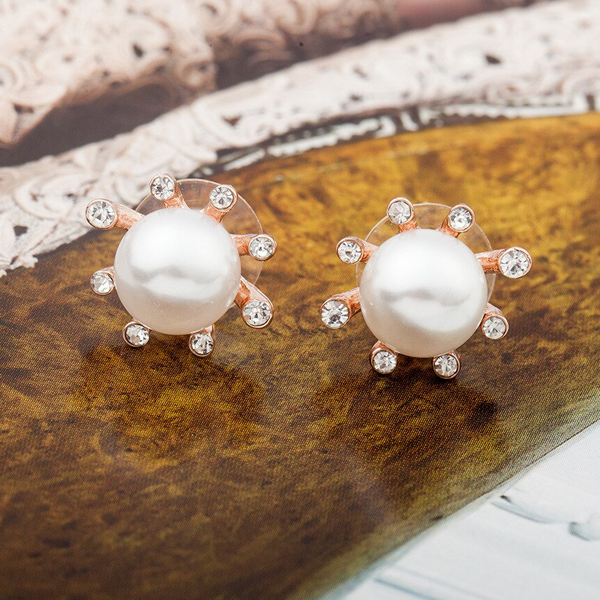 Pearl Decorated Crystal Party Wear Ear Tops - Golden