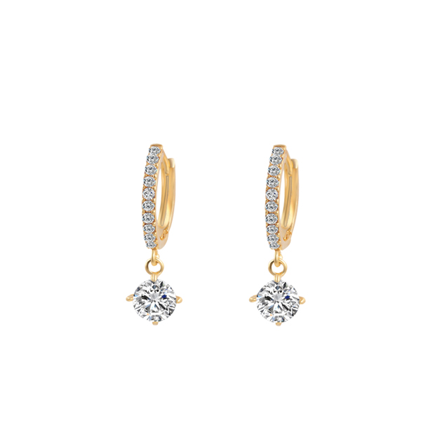 Gold Plated Zircon Decorated Earrings