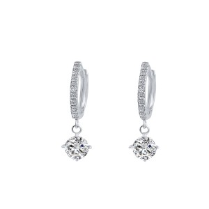 Silver Plated Zircon Decorated Earrings