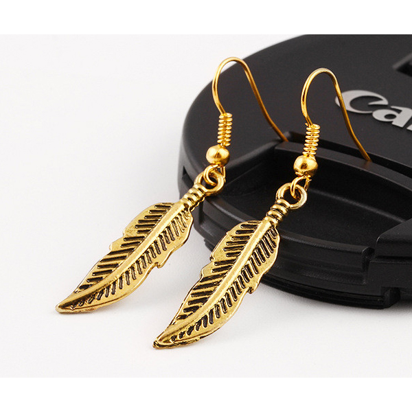 Leaf Hanging Gold Plated Earrings For Women