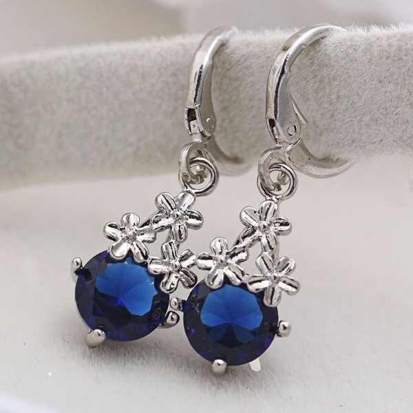 Silver Plated Blue Rhinestone Earrings