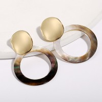 Round Acrylic Heart Gold Round Stud Big Circle Earrings