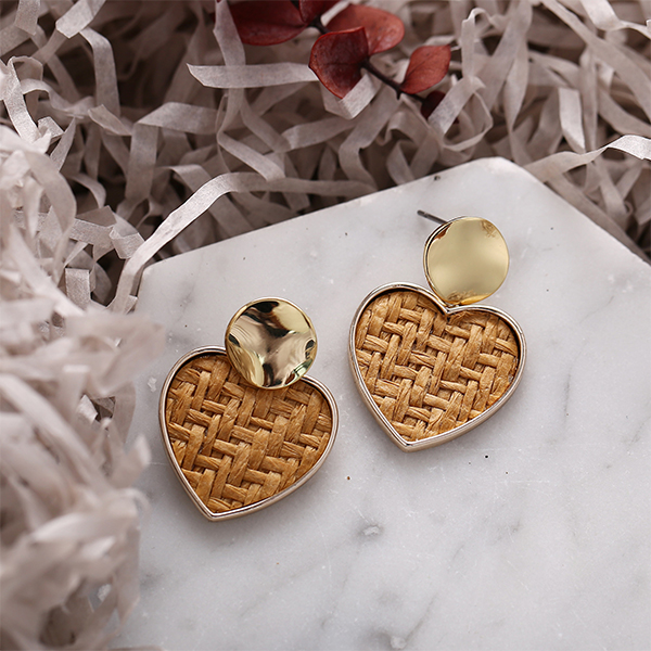 Heart Gold Plated Braided Retro Ear Tops - Brown