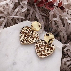 Heart Gold Plated Braided Retro Ear Tops - Multicolor