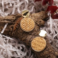 Round Gold Plated Braided Retro Ear Tops - Brown