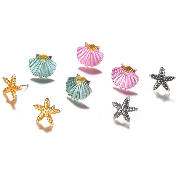Sea Shells Decorated Four Pieces Earrings Set