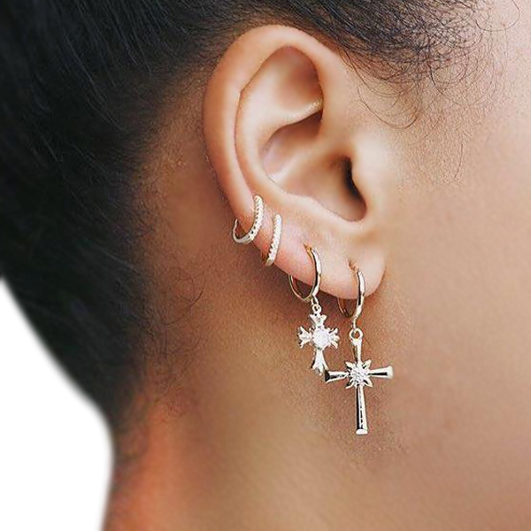 Cross Religious Golden Plated Ear Tops Set