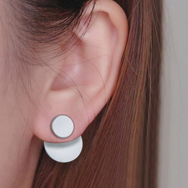 Round Silver Plated Solid Studs Casual Ear Tops