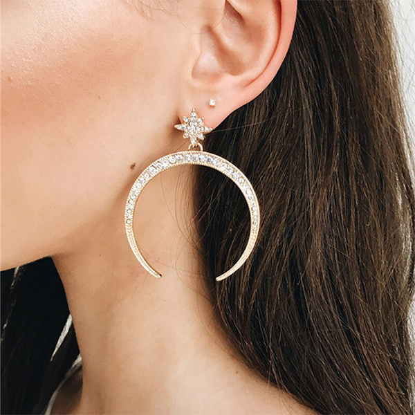 Cute Moon Crystal Star Party Earrings