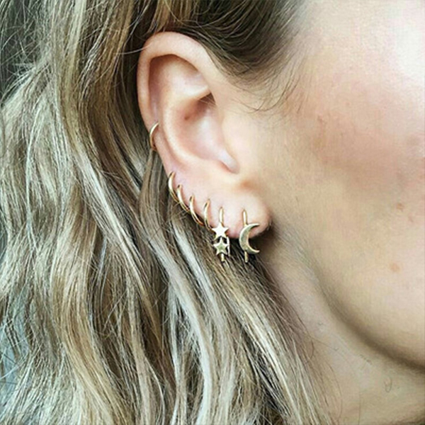 Gold Plated Casual Jewellery Ear Tops Set