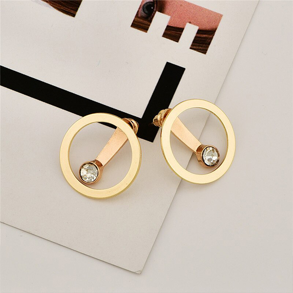Simple Synthetic Diamond Gold Plated Ear Tops