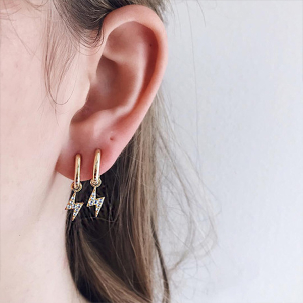 Casual Wear Golden Crystal Ear Tops