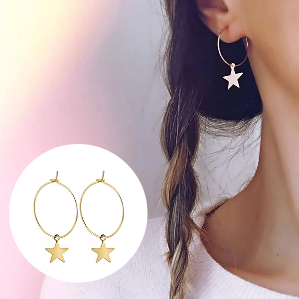 Star Party Wear Gold Plated Earrings