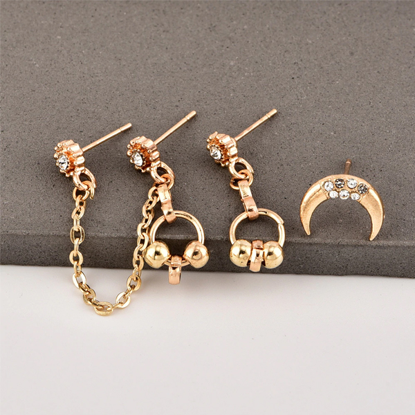 Five Pieces Gold Plated Crystal Ear Tops Set