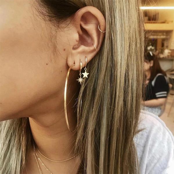 Vintage Multi Pierced Golden Earrings Pair