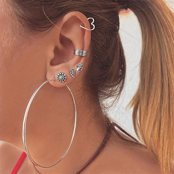 Multi Pierced Silver Plated Ear Tops Set