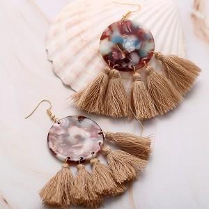 Bohemian Acrylic Tassel Dangle Splice Drop Earrings - Khaki