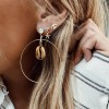 3 Pairs Starfish Pendant Big Circle Gold Shell Stud Earrings