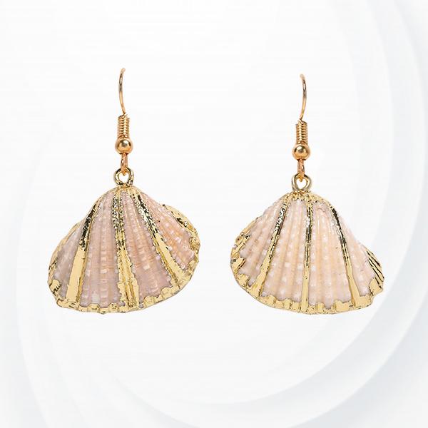 Bohemian Colorful Shell Drop Conch Earrings - Apricot