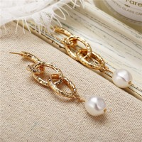 Gold Plated Chain Pearl Party Earrings