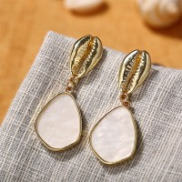 Water Drop Shaped Gold-plated Shell Acrylic Earrings