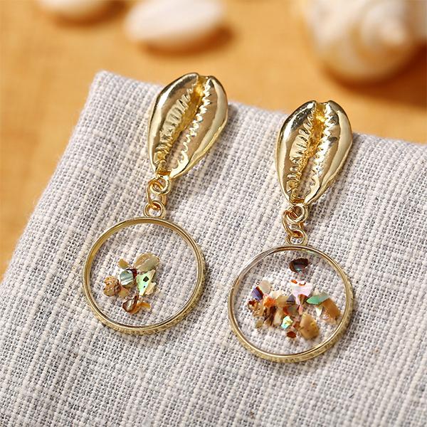 Metal Shell  Transparent Tortoise Geometric Earrings